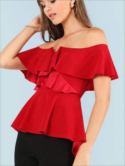 Womens Off The Shoulder Asymmetrical Peplum Blouse - Womens Tops