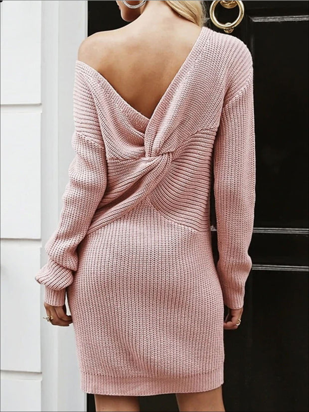 Womens Off The Shoulder Twisted Back Sweater Dress - Womens Fall Dresses