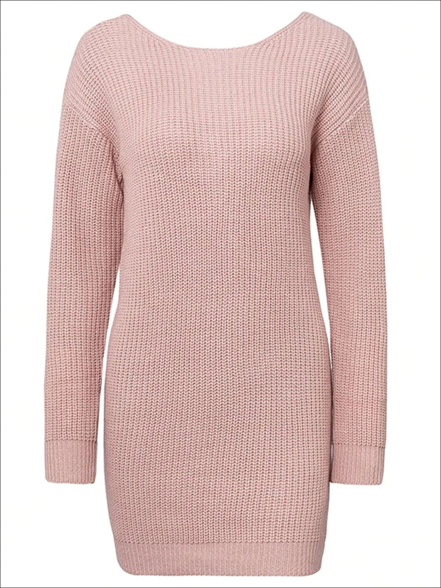 Womens Off The Shoulder Twisted Back Sweater Dress - Pink / One Size - Womens Fall Dresses