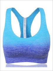 Womens Ombre Racerback Sports Bra - Blue / S - Womens Sports Bra