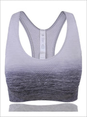 Womens Ombre Racerback Sports Bra - Gray / S - Womens Sports Bra