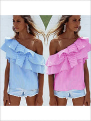 Womens One Open Shoulder Striped Ruffled Blouse - Womens Tops