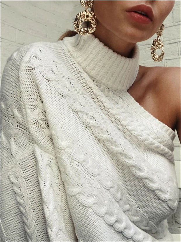 Womens One Shoulder Cable Knit Sweater - Womens Fall Sweaters
