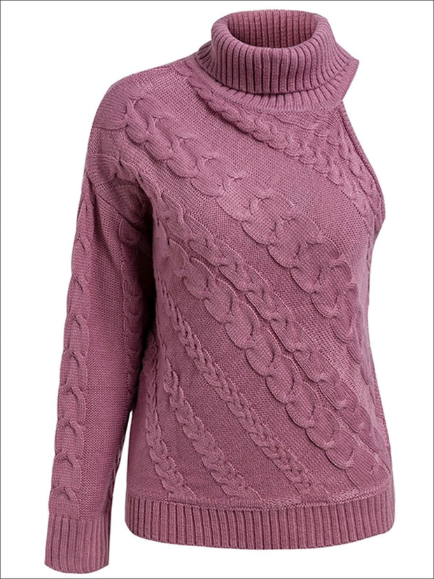 Womens One Shoulder Cable Knit Sweater - Pink / One Size - Womens Fall Sweaters