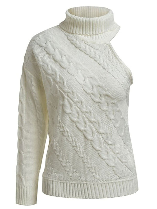 Womens One Shoulder Cable Knit Sweater - White / One Size - Womens Fall Sweaters
