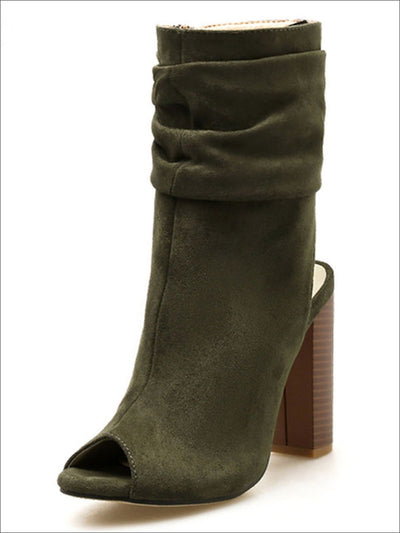 Womens Open Toe Block Heel Booties - Green / 4 - Womens Shoes