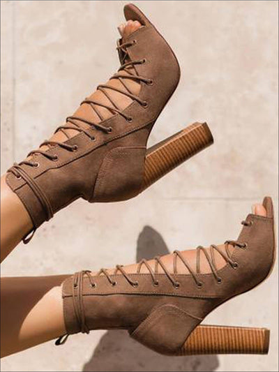 Womens Open Toe Lace Up High Heel Booties - Womens Shoes