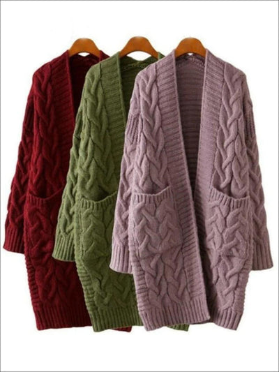 Womens Over-Sized Cable Knit Fall Cardigan with Side Pockets - Womens Fall Outerwear