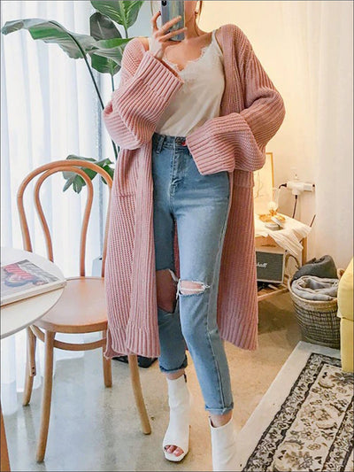 Womens Over-Sized Fall Knit Side Slit Cardigan - Pink / One - Womens Fall Outerwear