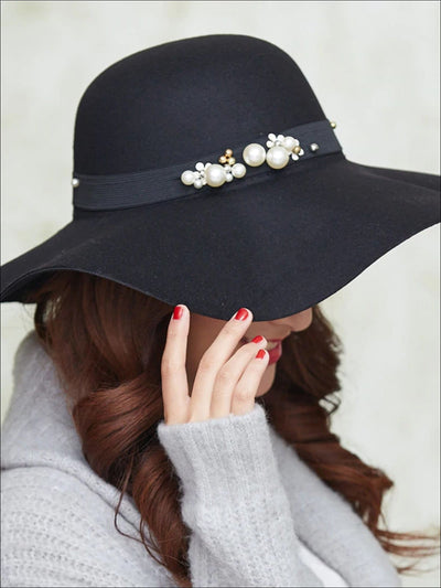 Womens Pearl Embellished Cashmere Fedora Hat (Multiple Color Options) - Womens Hats