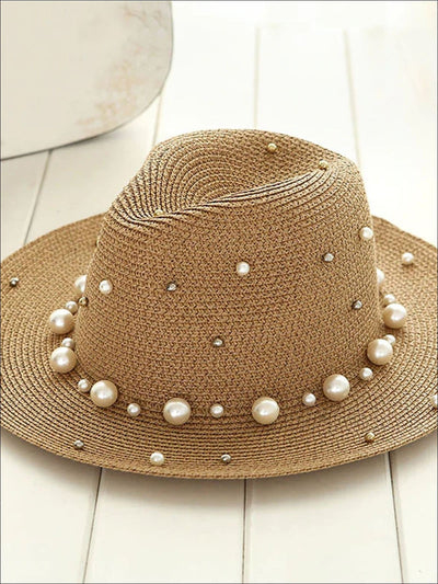 Womens Pearl Embellished Jazz Straw Hat - Brown - Womens Accessories