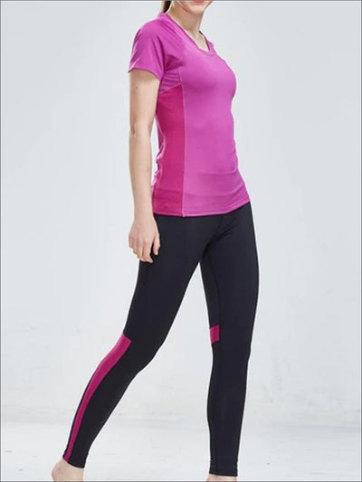 Womens Perforated Detail Workout Top & Leggings Set - Purple / S - Womens Activewear
