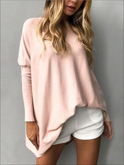 Womens Pink Oversized Long Sleeve Tunic - Womens Tops
