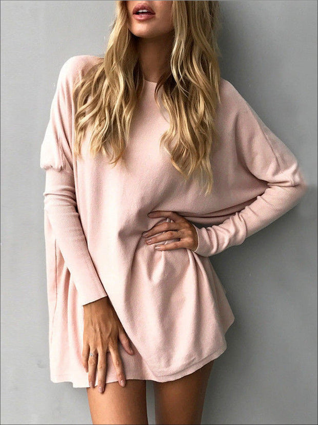 Womens Pink Oversized Long Sleeve Tunic - Pink / S - Womens Tops