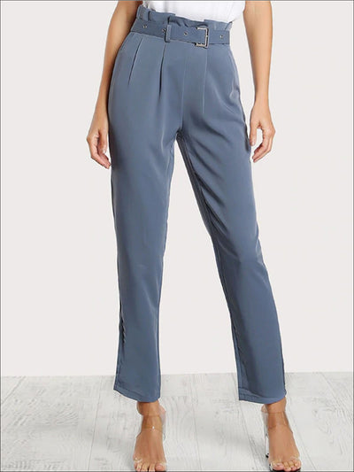 Womens Pleated Tailored Pants With Buckle Belt - Blue / XS - Womens Bottoms