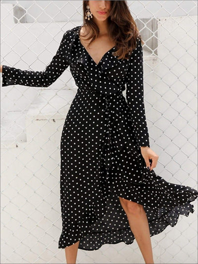 Womens Polka Dot Asymmetrical Ruffled Wrap Dress - Womens Dresses