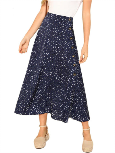 Womens Polka Dot Split Buttoned Long Skirt - Blue / XS - Womens Bottoms