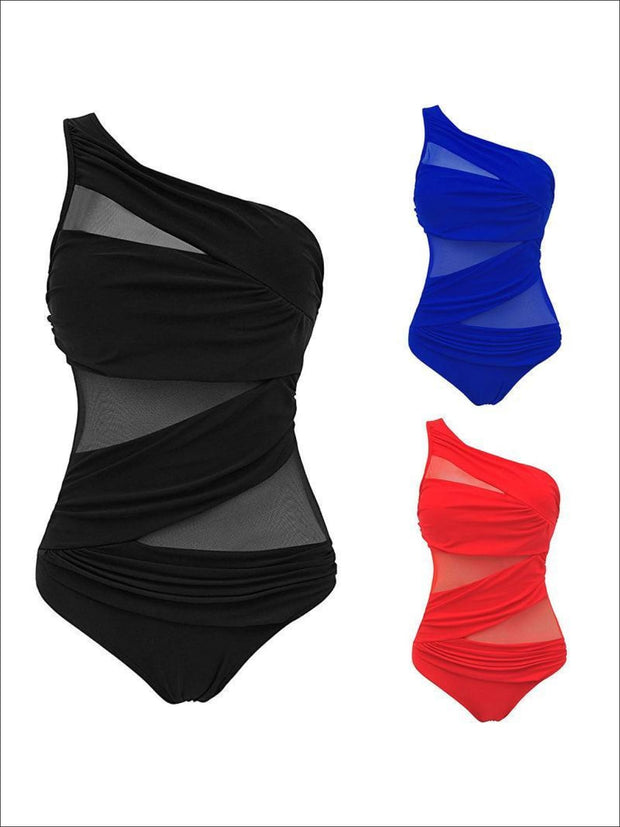 Womens Push-up One Shoulder Monokini - Womens Swimsuit