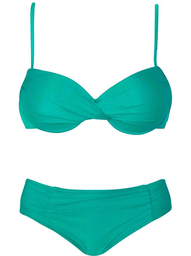 Womens Push Up Plus Size Vintage Two Piece Swimsuit - Green / M - Womens Swimsuit