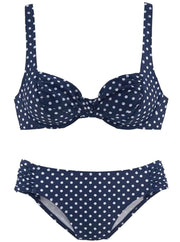 Womens Push Up Plus Size Vintage Two Piece Swimsuit - Navy Polka Dot / M - Womens Swimsuit