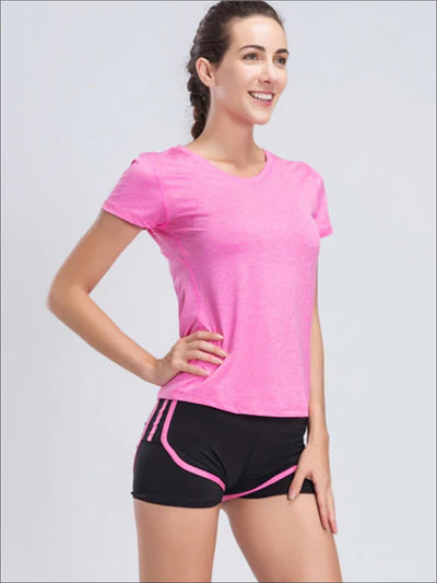 Womens Quick Dry Workout Top & Shorts Set - Pink / S - Womens Activewear