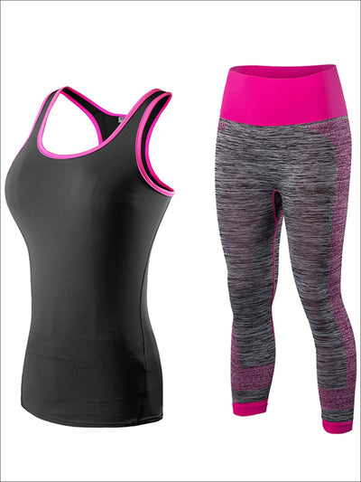 Womens Racerback Top & Marled Capri Leggings Set - Pink/Black / S - Womens Activewear