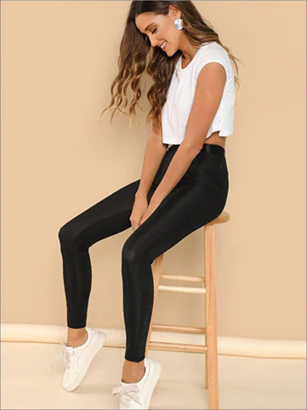 Womens Rib Knit High Waist Leggings - Womens Bottoms