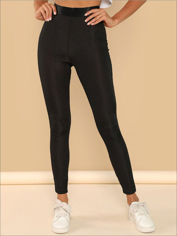 Womens Rib Knit High Waist Leggings - Black / XS - Womens Bottoms
