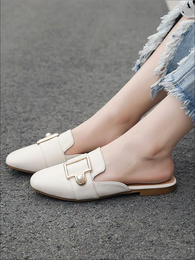 Womens Round Toe Metal Pearl Embellished Mules - Womens Shoes