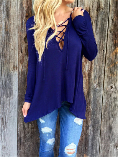 Womens Royal Blue Long Sleeve Criss Cross Neck Deep V Tunic - Blue / S - Womens Tops