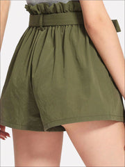 Womens Ruffle Tie Up Waist Wide Leg Shorts - Womens Bottoms
