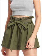 Womens Ruffle Tie Up Waist Wide Leg Shorts - Green / XS - Womens Bottoms