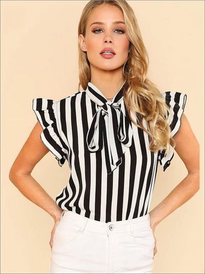 Womens Ruffled Cap Sleeve Bow Tie Striped Blouse - Black / XS - Womens Tops