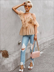 Womens Ruffled Cold Shoulder Peplum Mesh Blouse - Womens Tops