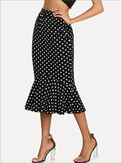 Womens Ruffled Hem Polka Dot Pencil Skirt - Black / S - Womens Bottoms