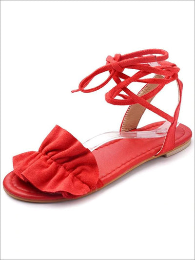 Womens Ruffled Lace Up Flat Sandals - Red / 5 - Womens Sandals