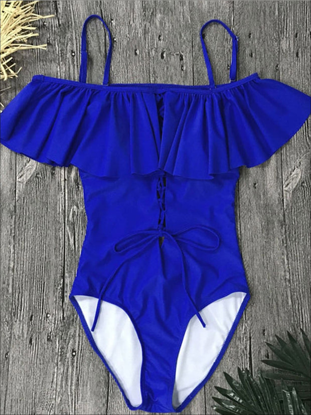 Womens Ruffled Off Shoulder Lace-Down One-Piece Swimsuit - Blue / S - Womens Swimsuit