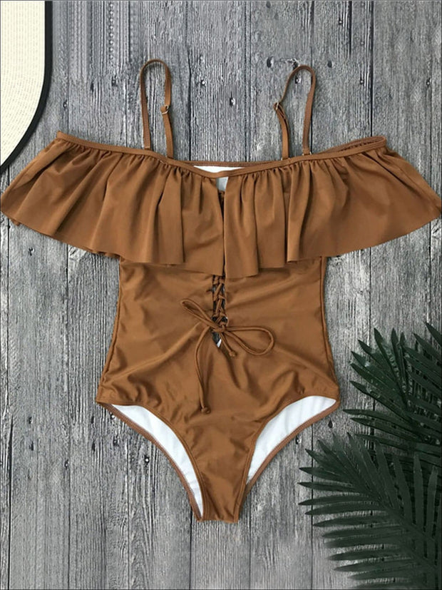 Womens Ruffled Off Shoulder Lace-Down One-Piece Swimsuit - Brown / S - Womens Swimsuit