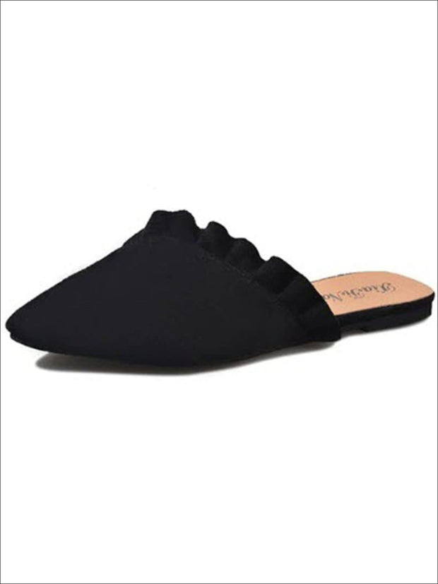 Womens Ruffled Pointed Flat Mules - Black / 4 - Womens Shoes
