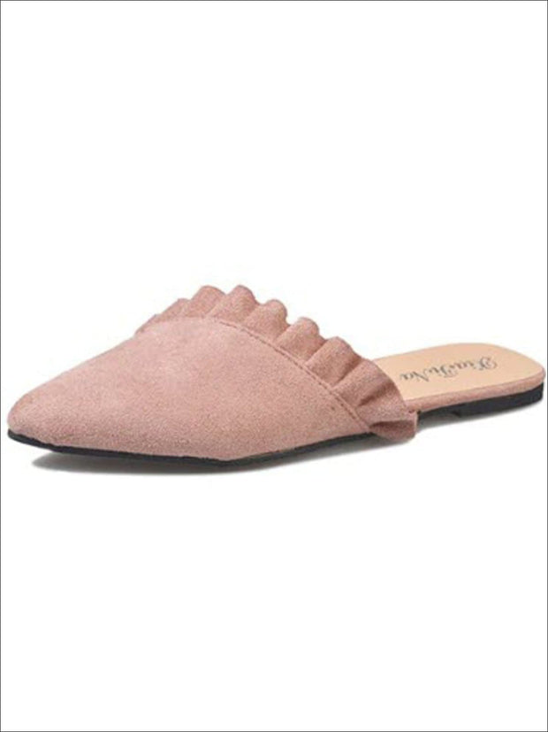 Womens Ruffled Pointed Flat Mules - Pink / 4 - Womens Shoes
