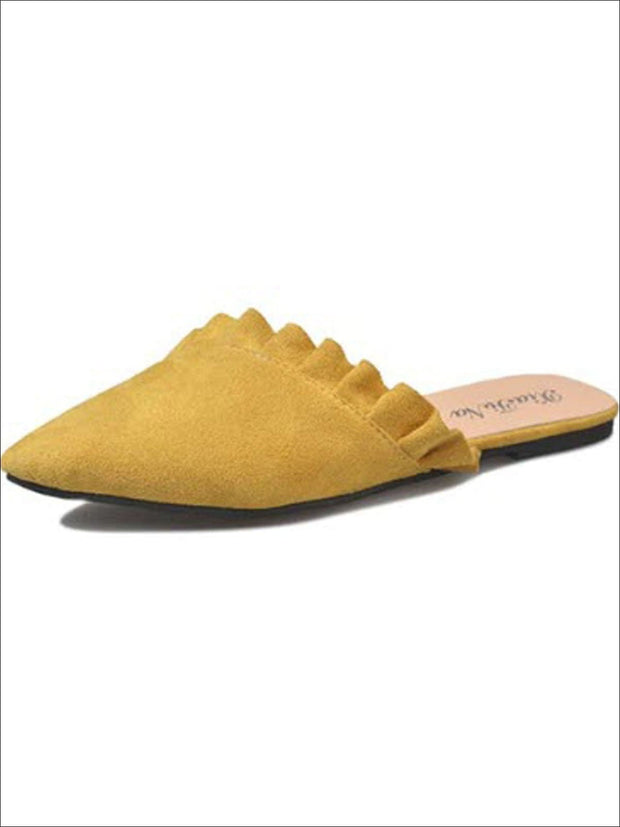 Womens Ruffled Pointed Flat Mules - Yellow / 4 - Womens Shoes
