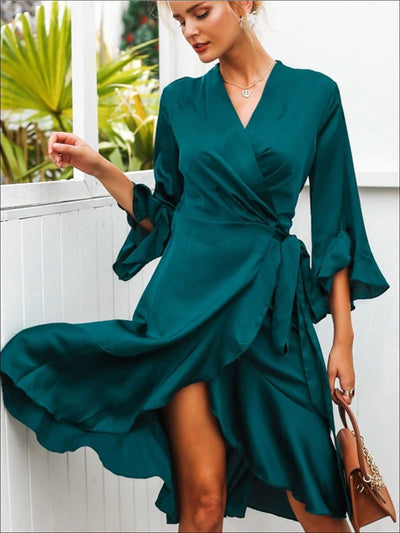 Womens Satin Flare Ruffled Sleeve Sash Wrap Dress - Womens Dresses