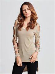 Womens Sexy Criss Cross Sleeve Hi-Lo Blouse - Beige / S - Womens Tops