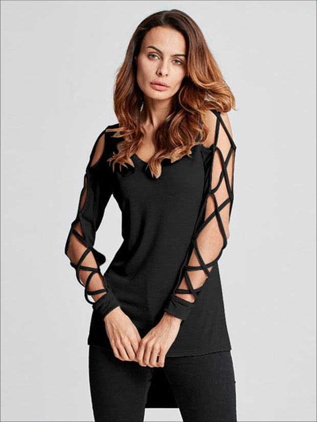 Womens Sexy Criss Cross Sleeve Hi-Lo Blouse - Black / S - Womens Tops