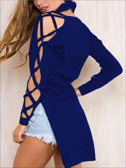 Womens Sexy Criss Cross Sleeve Hi-Lo Blouse - Blue / S - Womens Tops