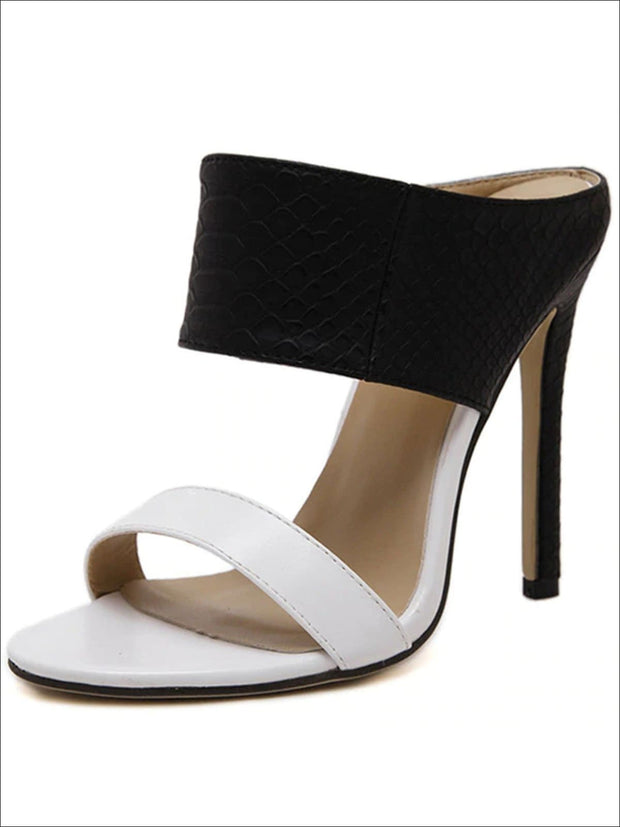 Womens Slip On Stiletto Sandals - Black & White / 4 - Womens Sandals