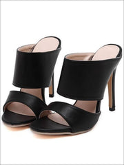 Womens Slip On Stiletto Sandals - PU Black / 4 - Womens Sandals