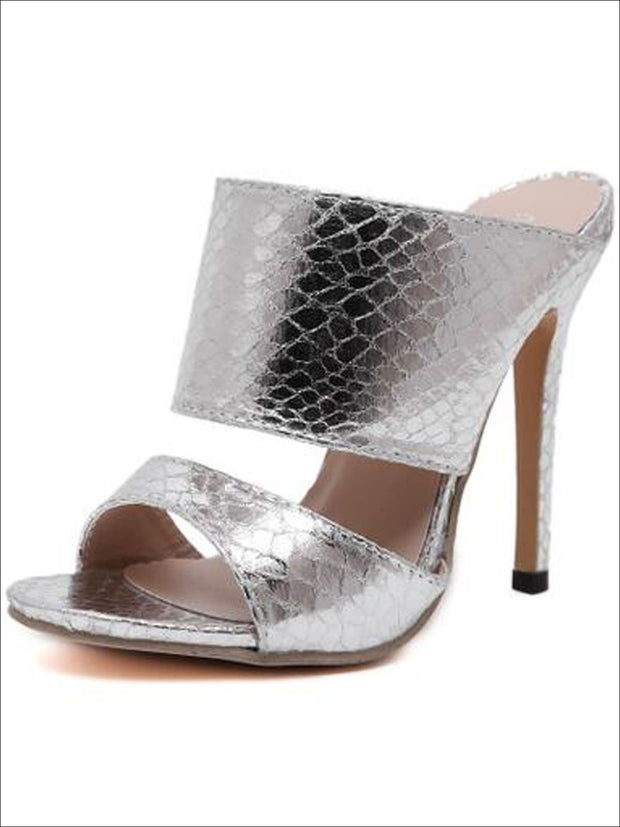 Womens Slip On Stiletto Sandals - Silver / 4 - Womens Sandals