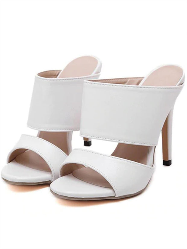 Womens Slip On Stiletto Sandals - White / 4 - Womens Sandals