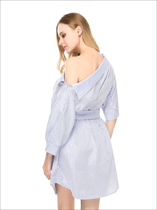 Womens Slouchy Belted Pinstripe Dress/Tunic - Womens Dresses